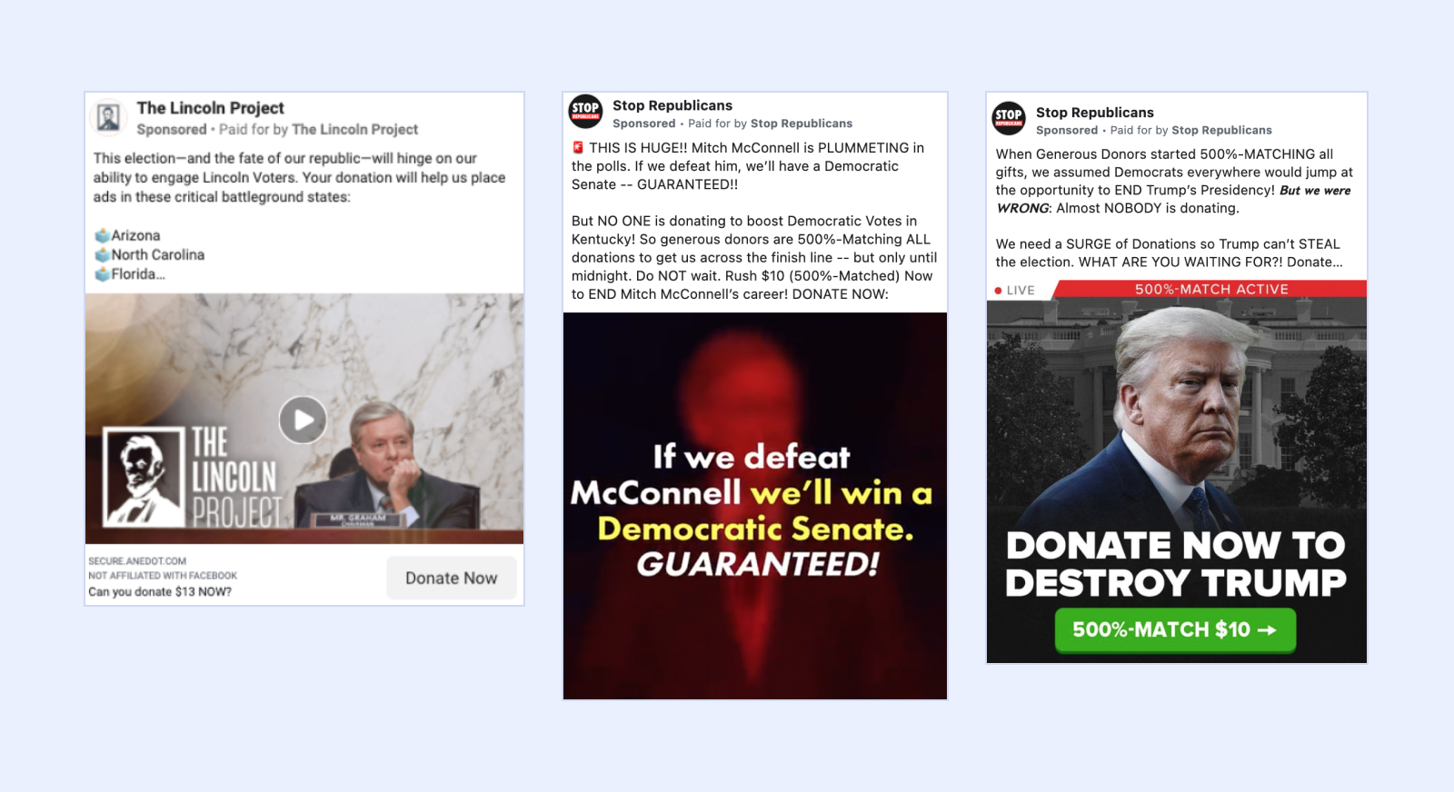 Fundraising ads from Facebook that are divisive in tone.