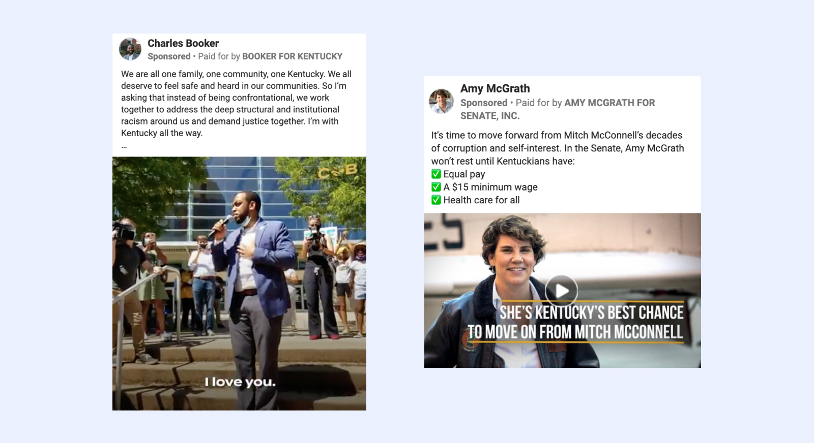 Facebook ads from Charles Booker and Amy McGrath