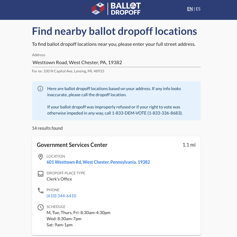Ballot Dropoff Locator being used to look up dropoff locations in Pennsylvania