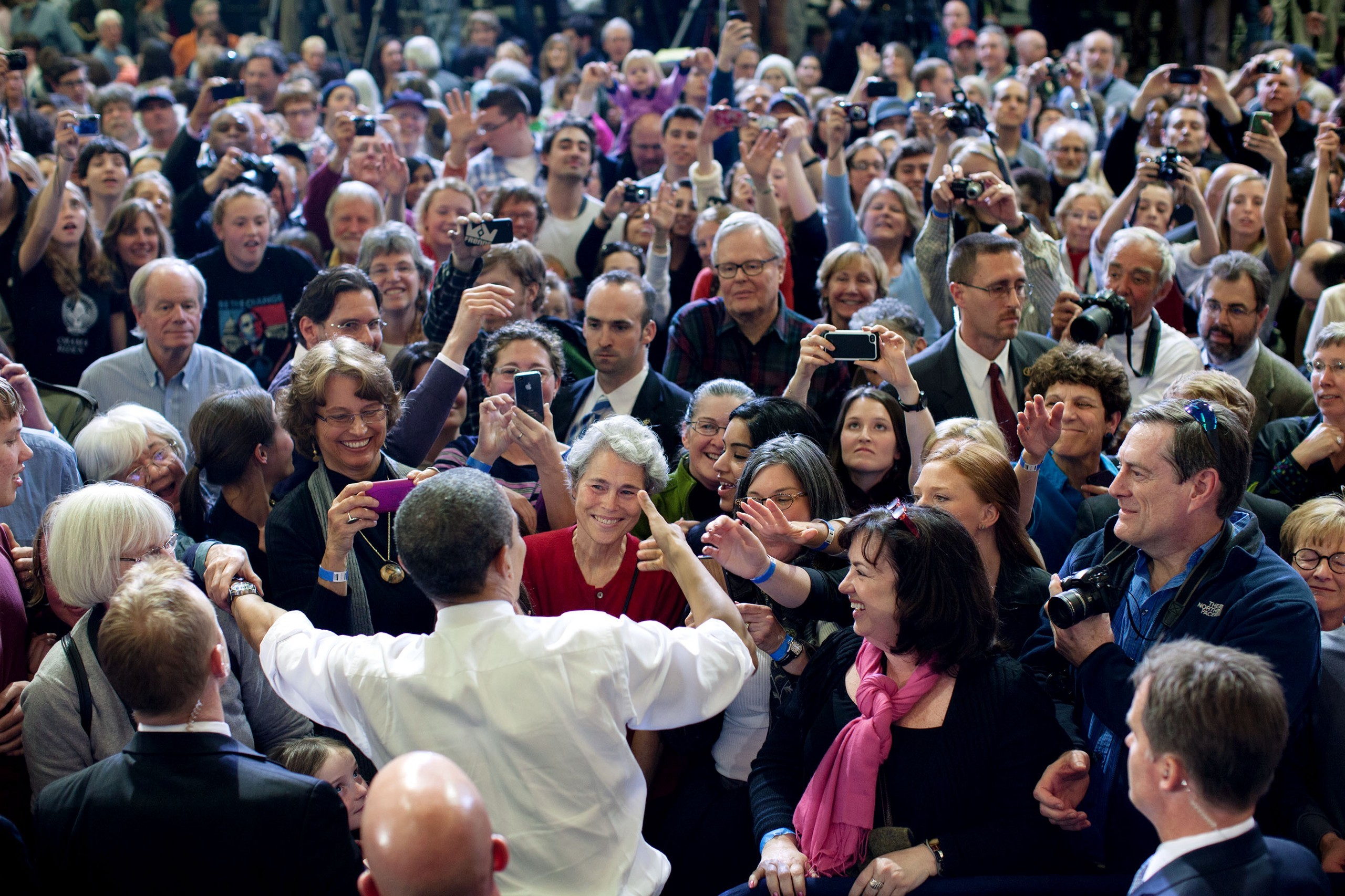 President Obama shaking hands in a crowd