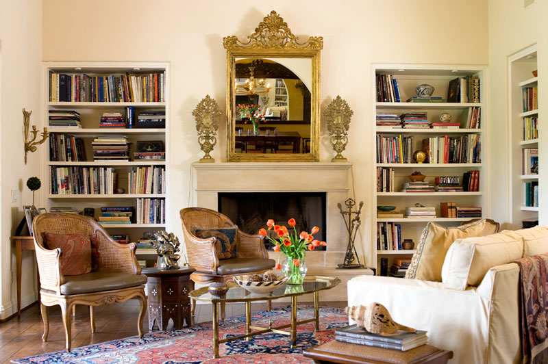 San Diego House Living Room with Bookcases