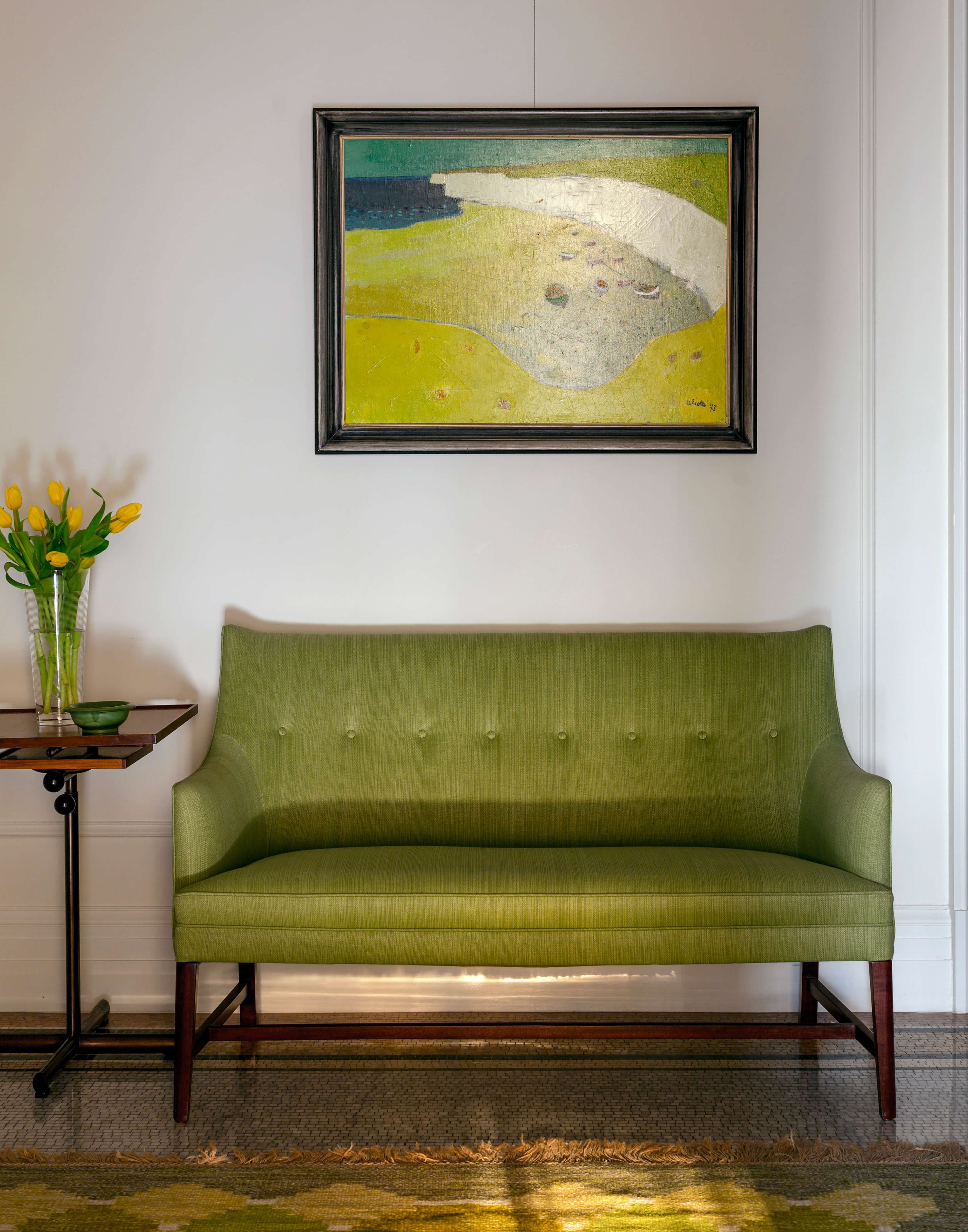 The Apthorp Green Loveseat and Painting