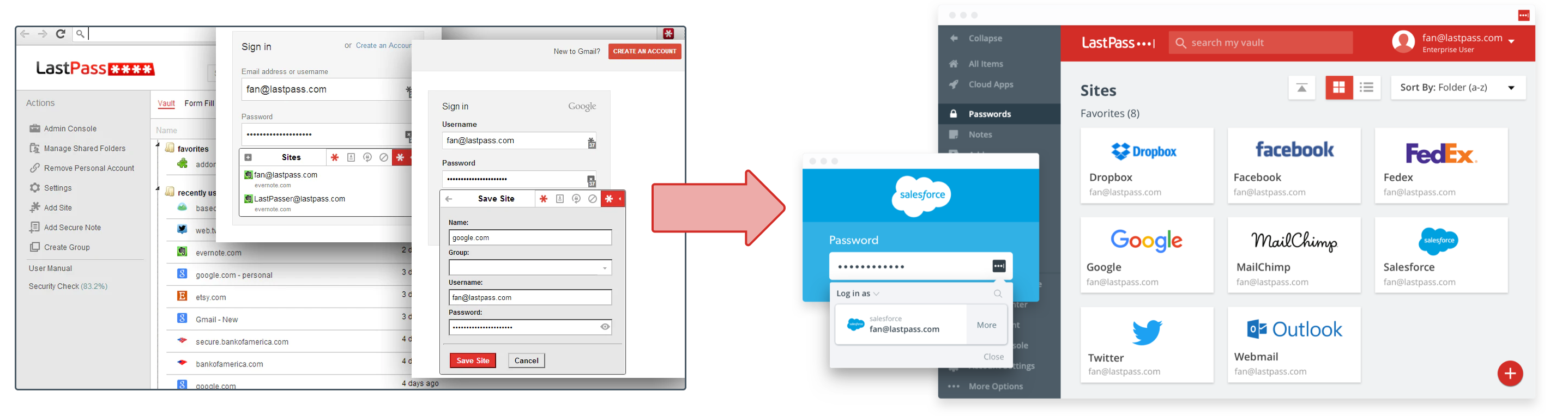 before and after of LastPass design