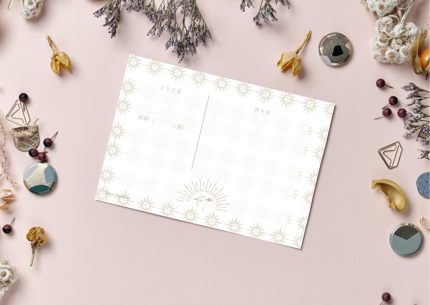 Sun レシピカード・情報カード セット