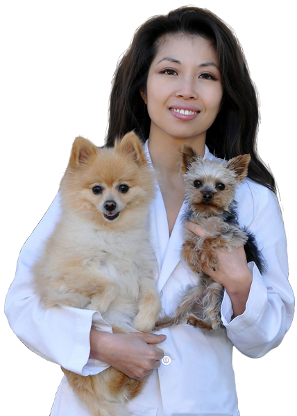 dr. wang and her two cute puppies