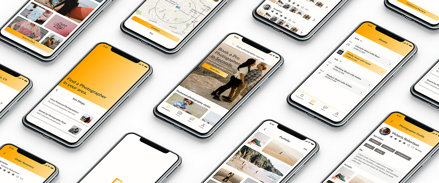 Design mockups of iphones with the app screens on them