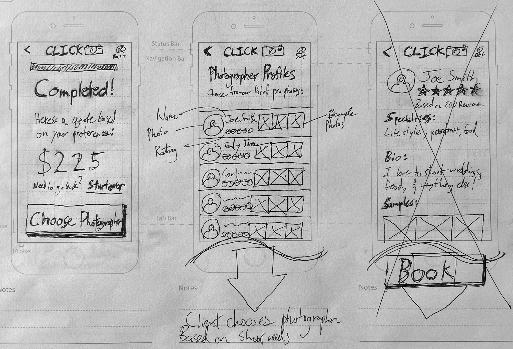 sketches of client booking screens