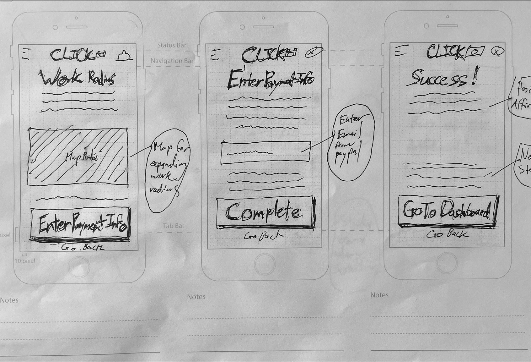 sketches of the photographer signup screens