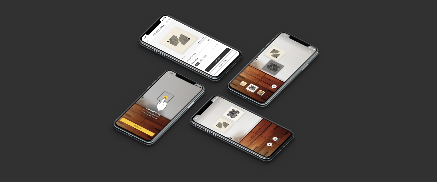 House2Home case study header with main high fidelity screens