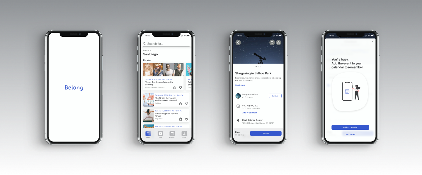 Heading image with splash, explore, event, and add to calendar screens