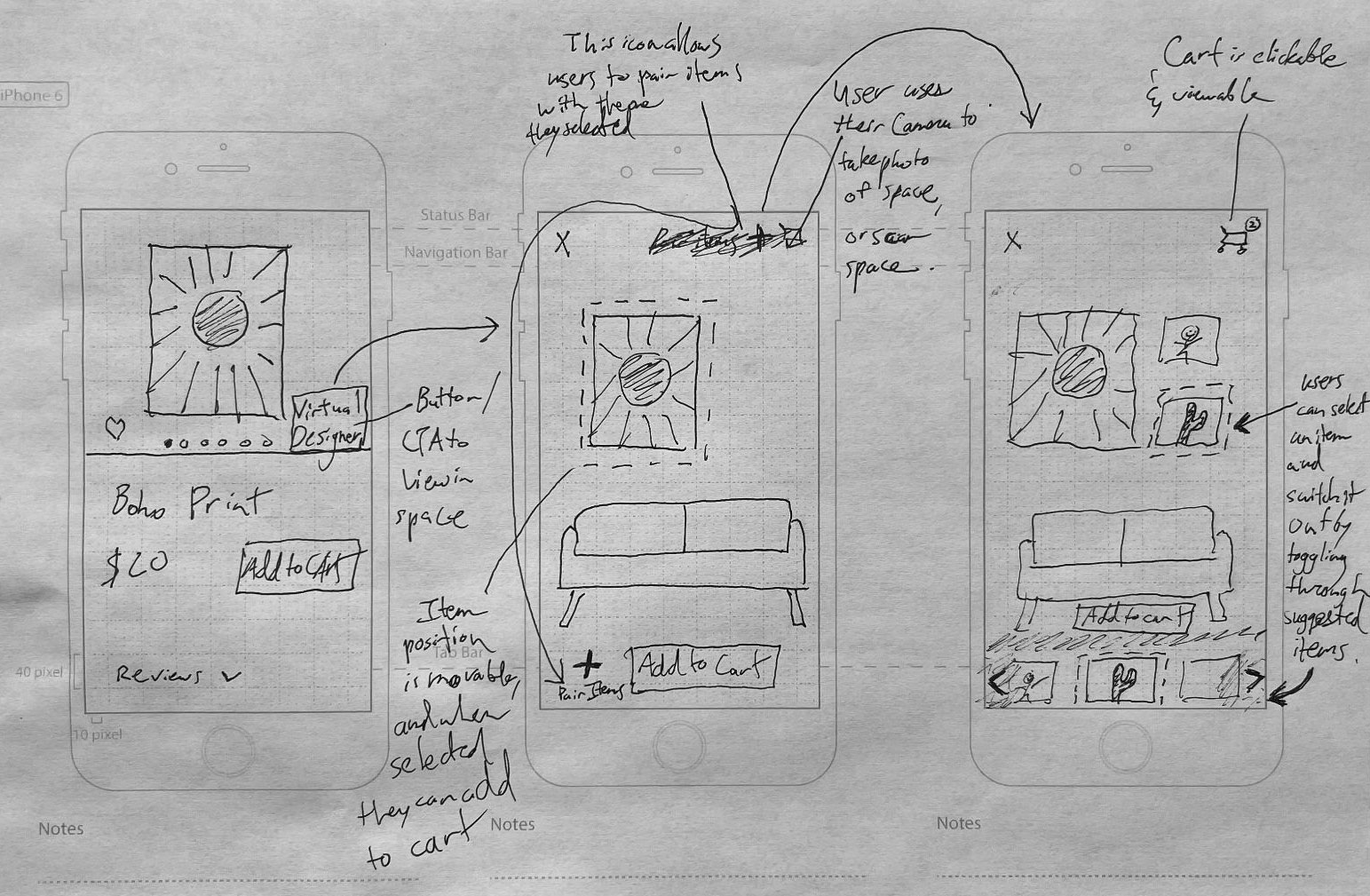Chosen solution sketch with product page, app page, and checkout