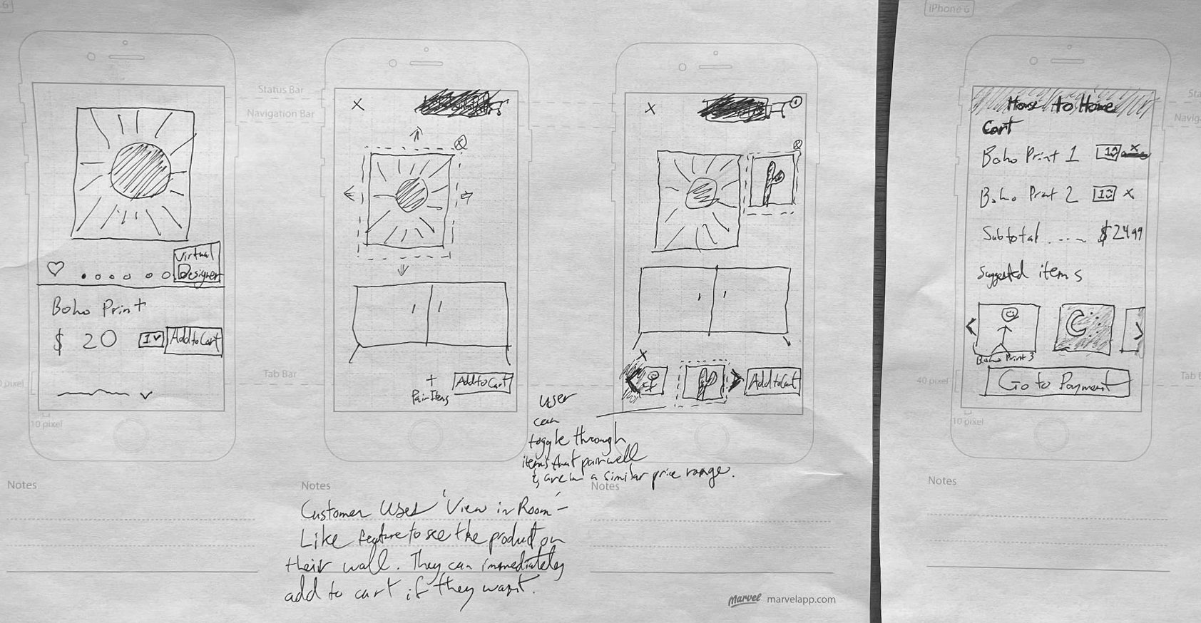 solution sketch with storyboarding to simulate the user flow