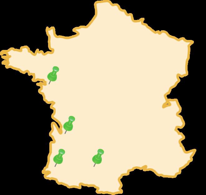 Carte de France avec nos implantations