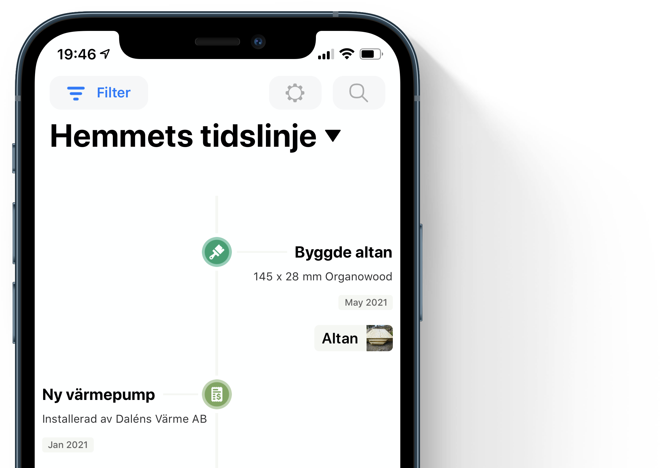 Homer timeline photo in swedish