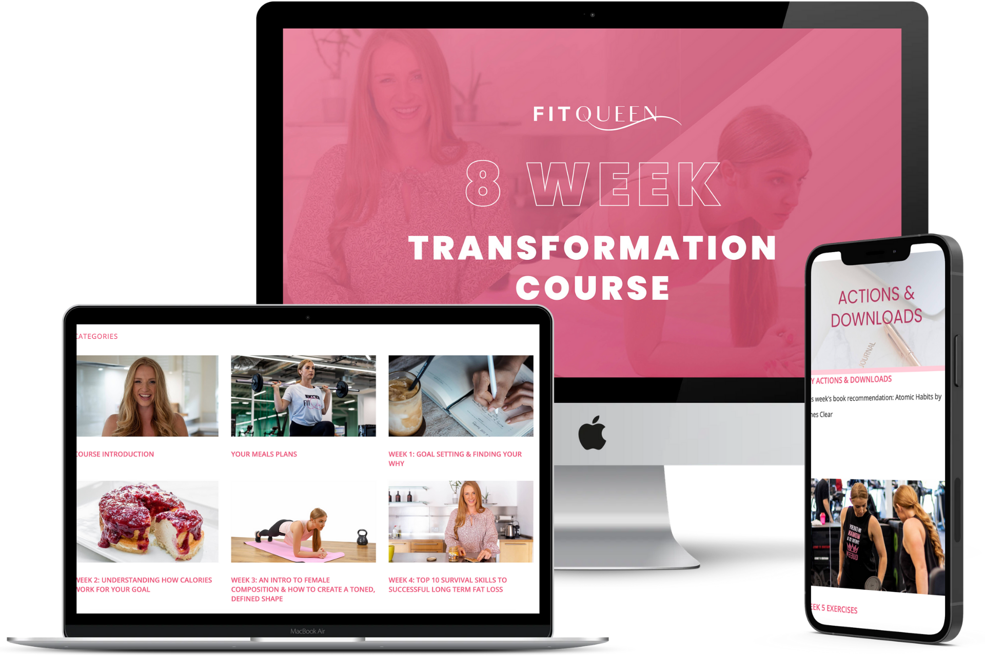 FitQueen Education product in 3 desktop, laptop and mobile