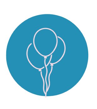An icon of 3 balloons