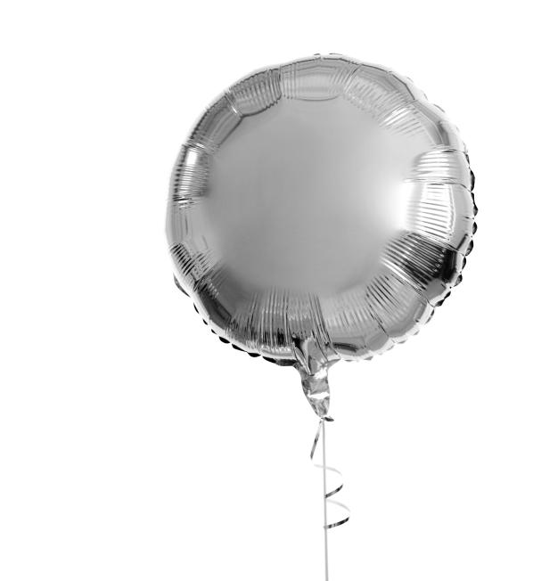 A silver balloon on a string