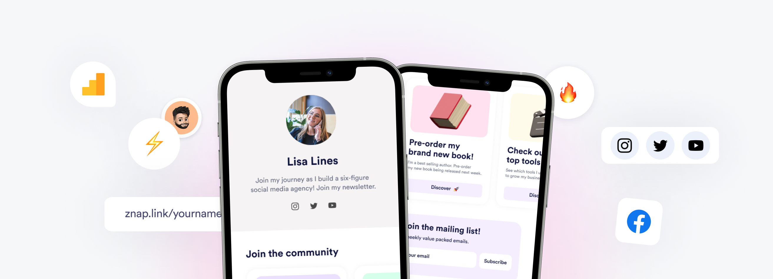 The best link-in-bio tool for 2021. Connect your different social media profiles, content and communities using Znaplink.