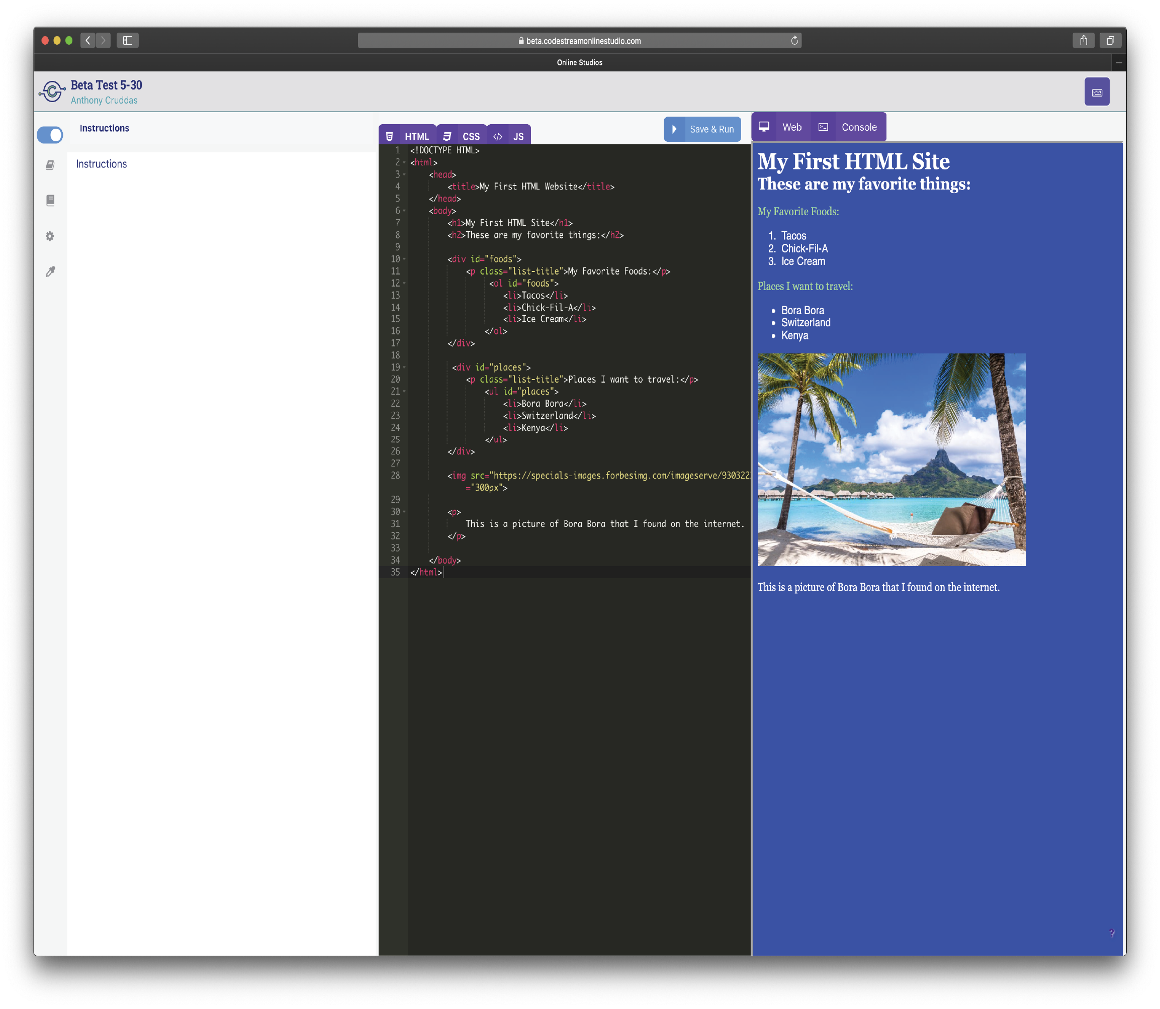 The Codestream Online Studio's three panel view.