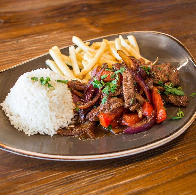 Our most popular dish, the Lomo Saltado can be made with Chicken, Shrimp, Ribeye, or Vegetarian. Pictured is the Lomo Saltado Ribeye.