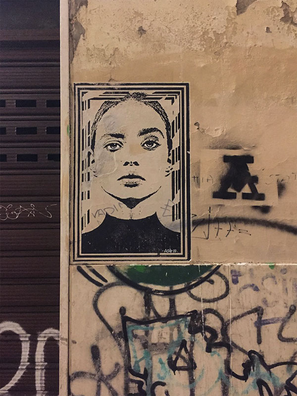 Street art in one of Florence's many laneways.