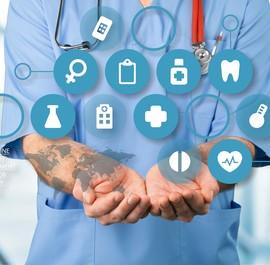 medyczne ikony na tle lekarza
