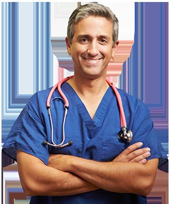 portret lekarza w niebieskim kitlu