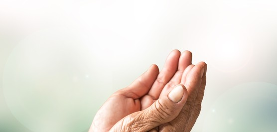 dłonie złożone w geście pomocy
