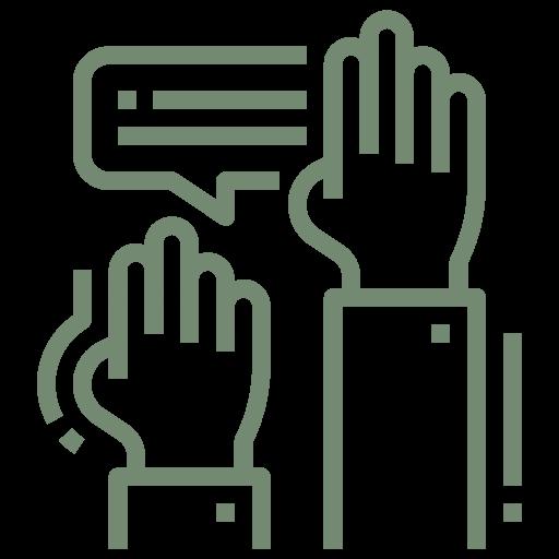 """Symbol zweier Meldungen in Form des Handhebens und einer Sprechblase zur visuellen Darstellung des Stichwortes """"Mitbestimmung""""."""