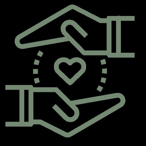 """Symbol zweier Hände, die mit den Handflächen zueinander gerichtet, über einander gehalten werden und in deren Mitte ein Herz dargestellt ist, zur visuellen Darstellung des Stichwortes """"Sinnhaftigkeit""""."""