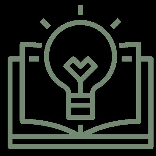 """Symbol eines aufgeschlagenen Buches über dessen Mitte sich eine Glühbirne befindet, zur visuellen Darstellung des Stichwortes """"Weiterbildung""""."""