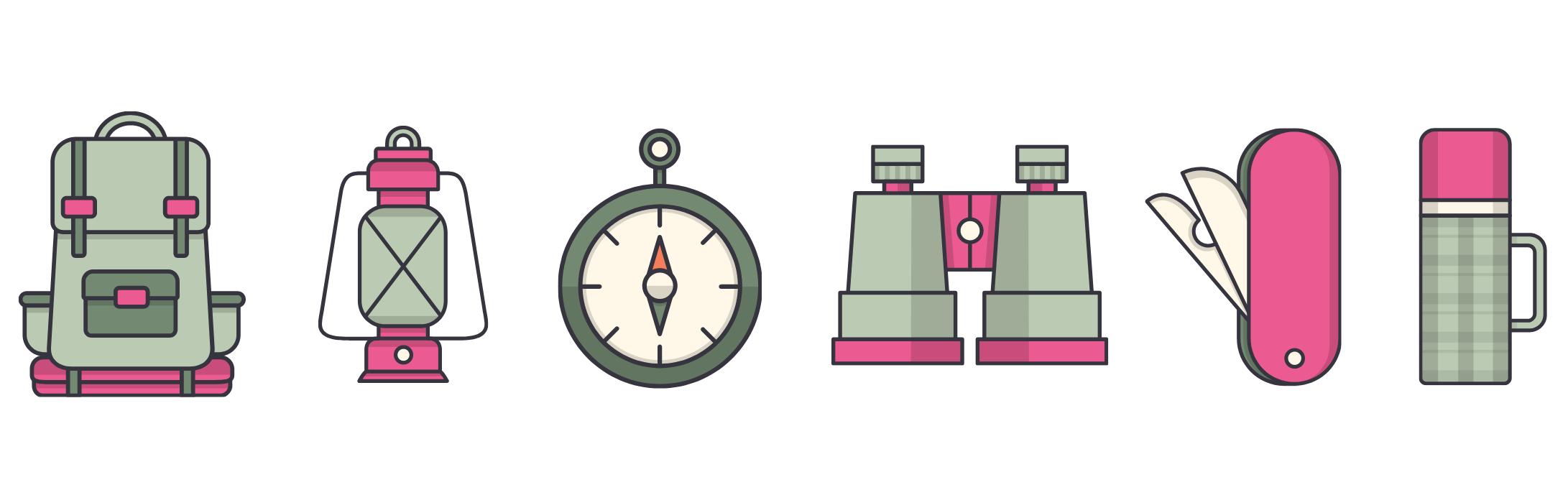 """Sechs Symbole zur Darstellung des Themas """"Expedition"""". Darunter ein Rucksack, eine Gaslampe, ein Kompass, ein Fernglas, ein Taschenmesser und eine Thermoskanne."""