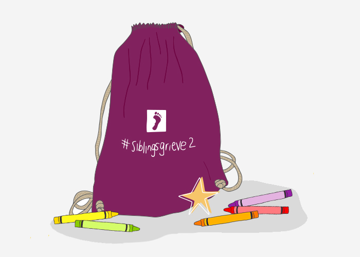 #siblingsgrieve2 on purple bag with crayons