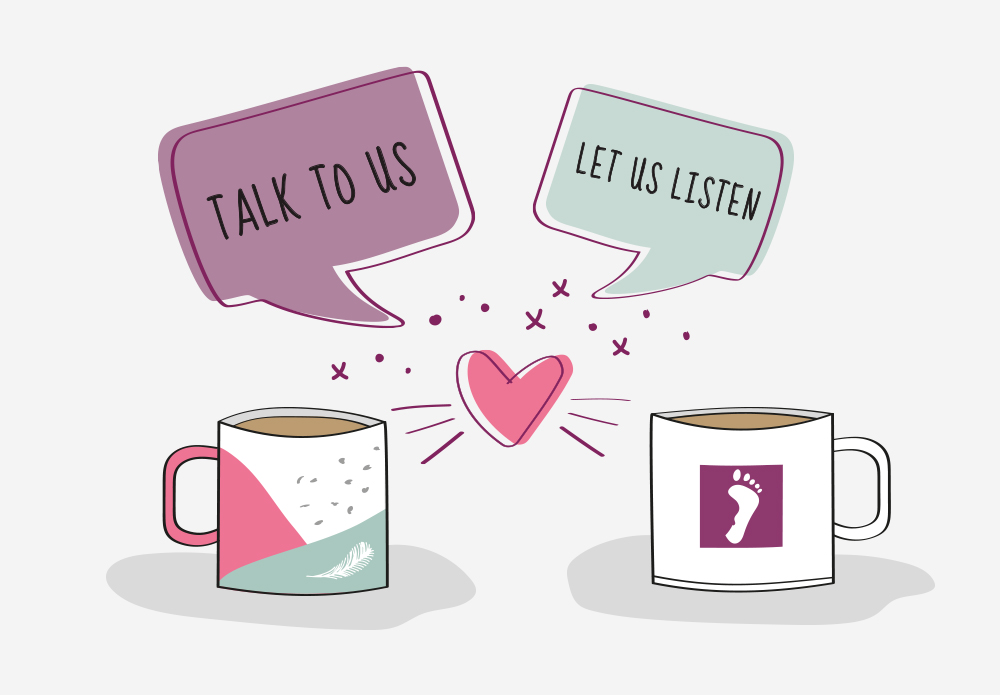Two mugs, hearts and chat bubles