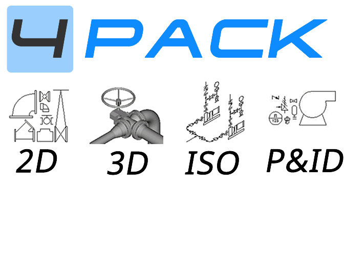 Piping symbols for AutoCAD – Piping 4-Pack