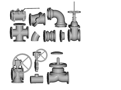 3D piping symbols library