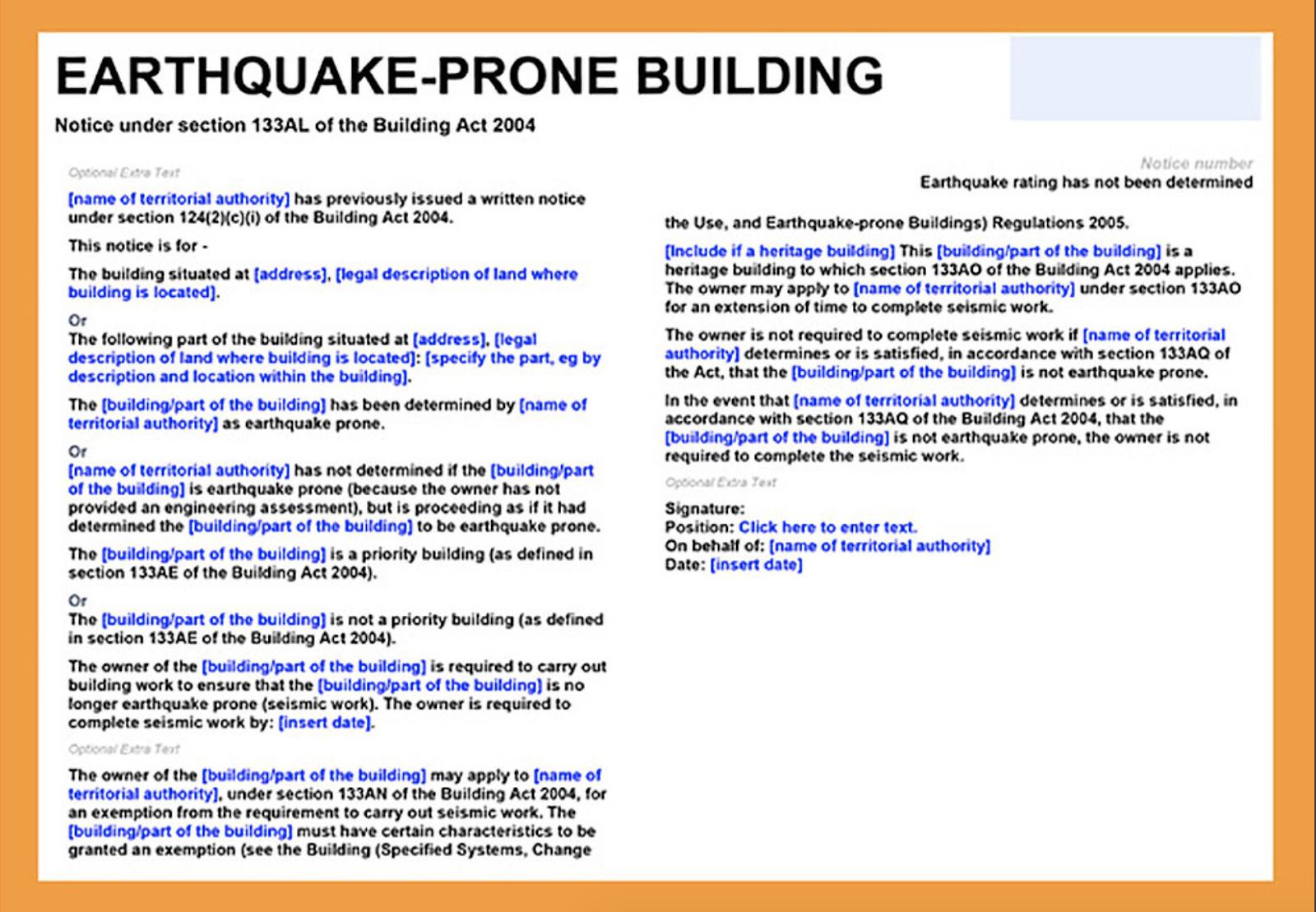 Earthquake prone building