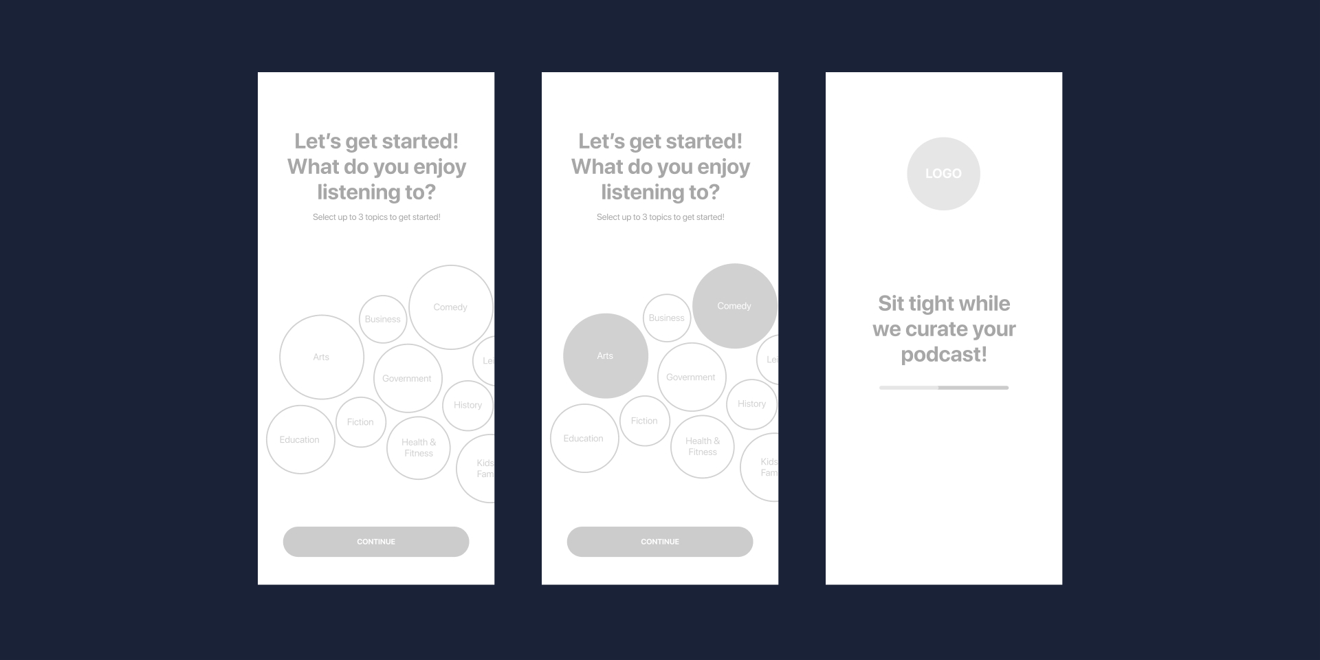 Cloudcast Case Study Wireframe Onboarding Screen