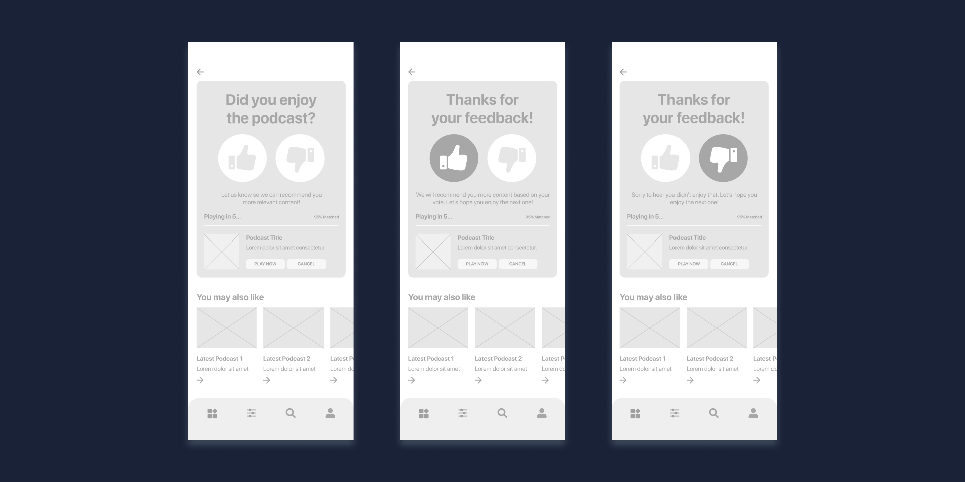 Cloudcast Case Study Wireframe End-Listening Screen
