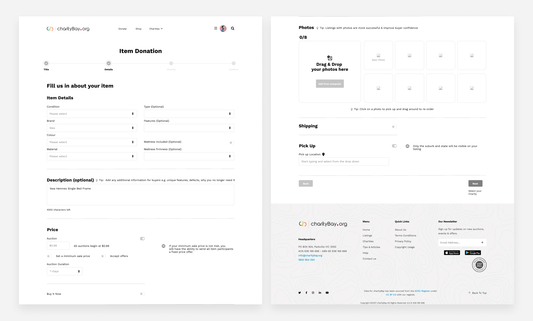 charityBay Case Study Wireframe 2