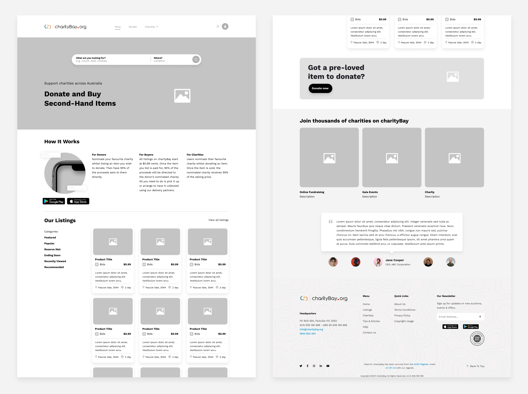 charityBay Case Study Wireframe Homepage