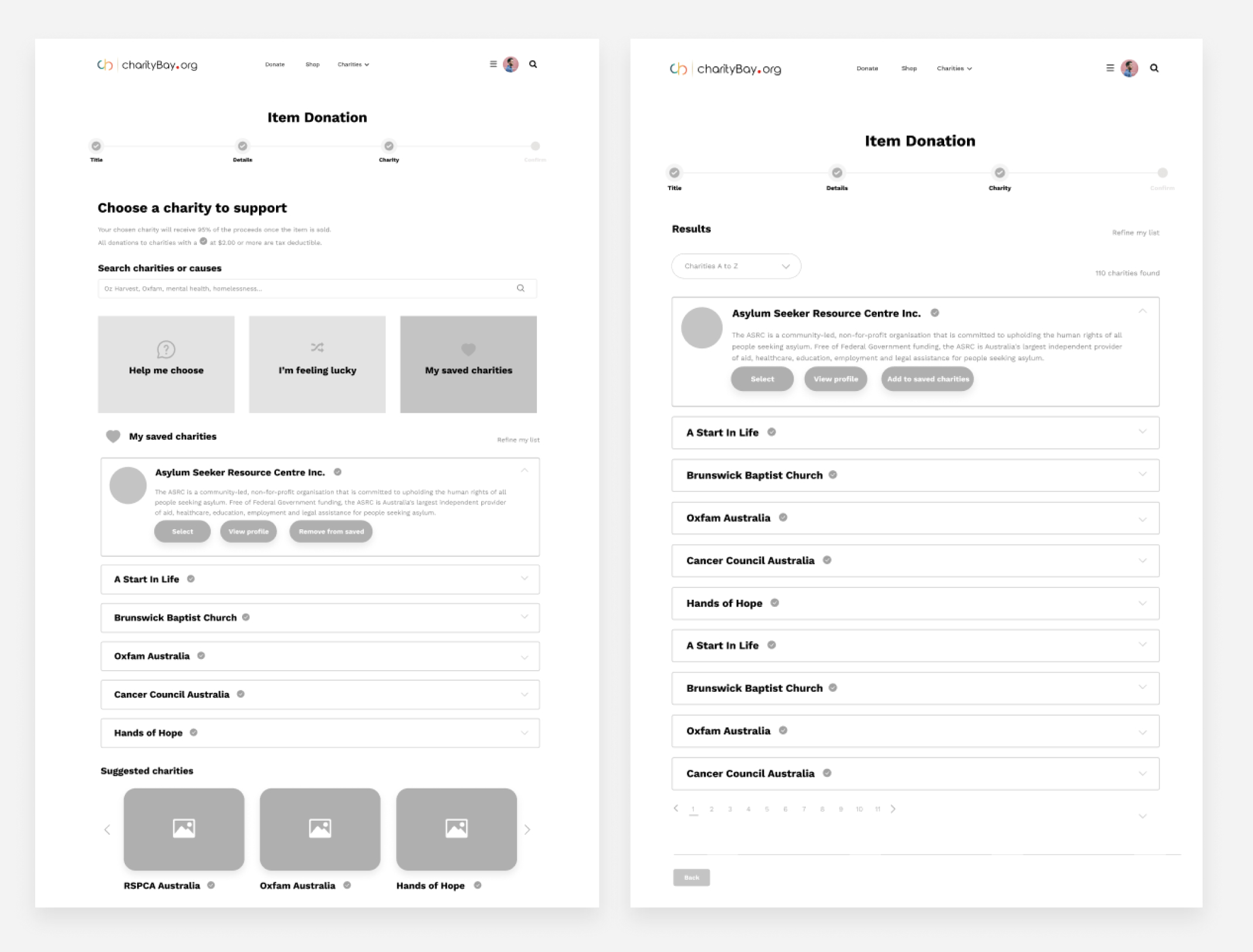 charityBay Case Study Wireframe 3