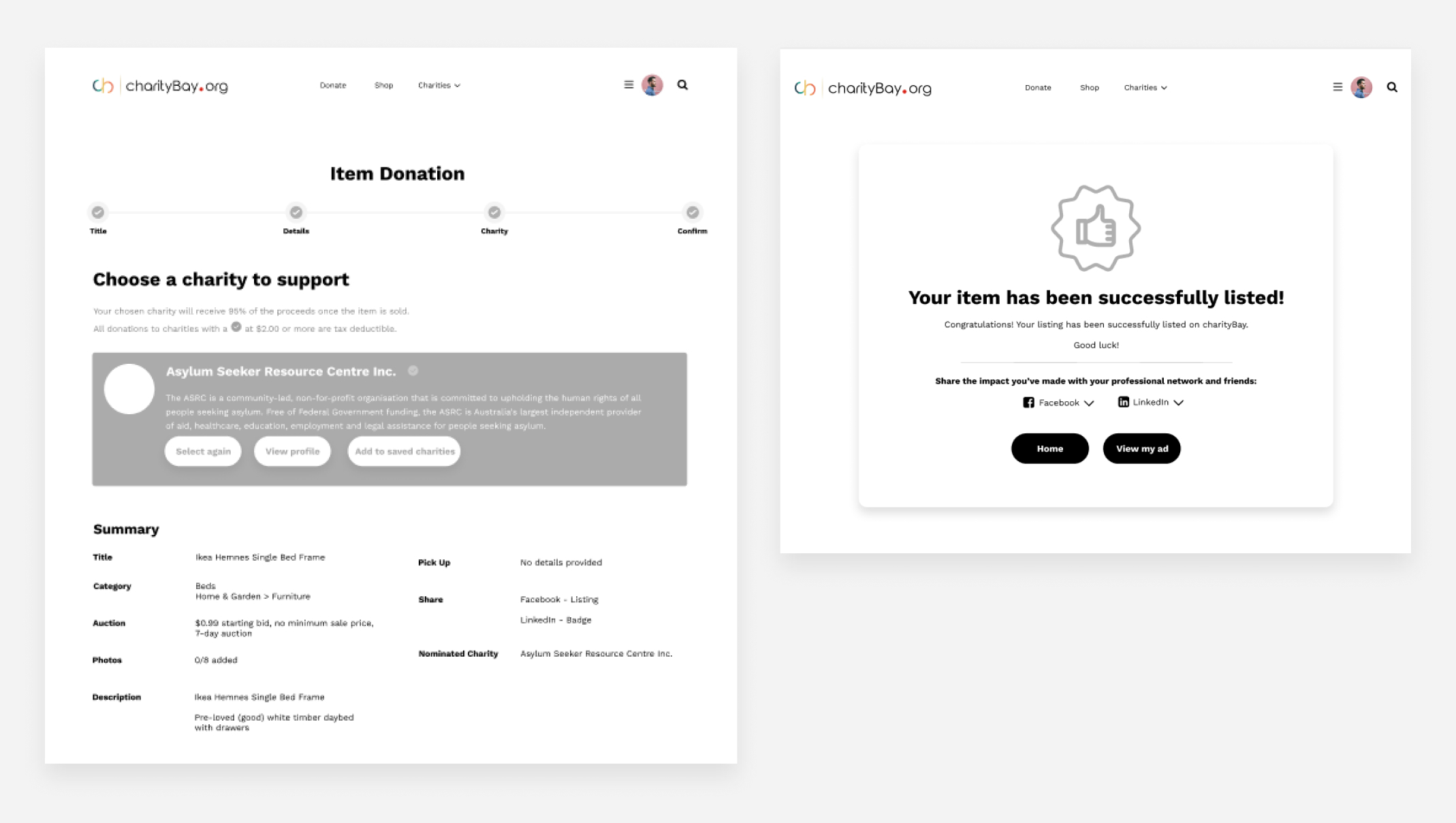charityBay Case Study Wireframe 4