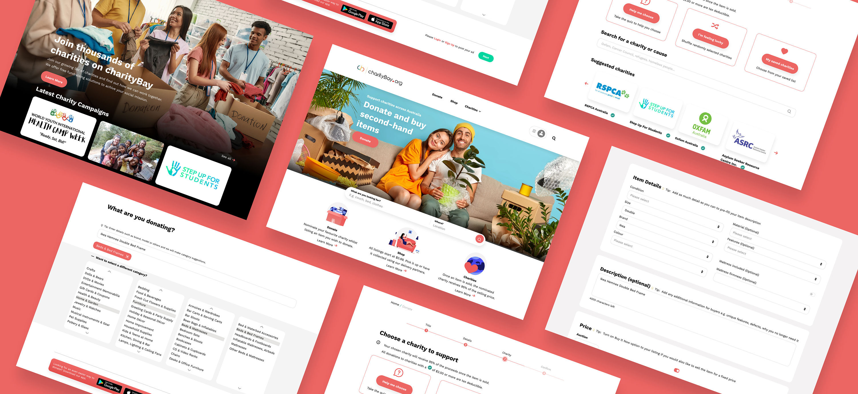 charityBay Case Study High Fidelity Design