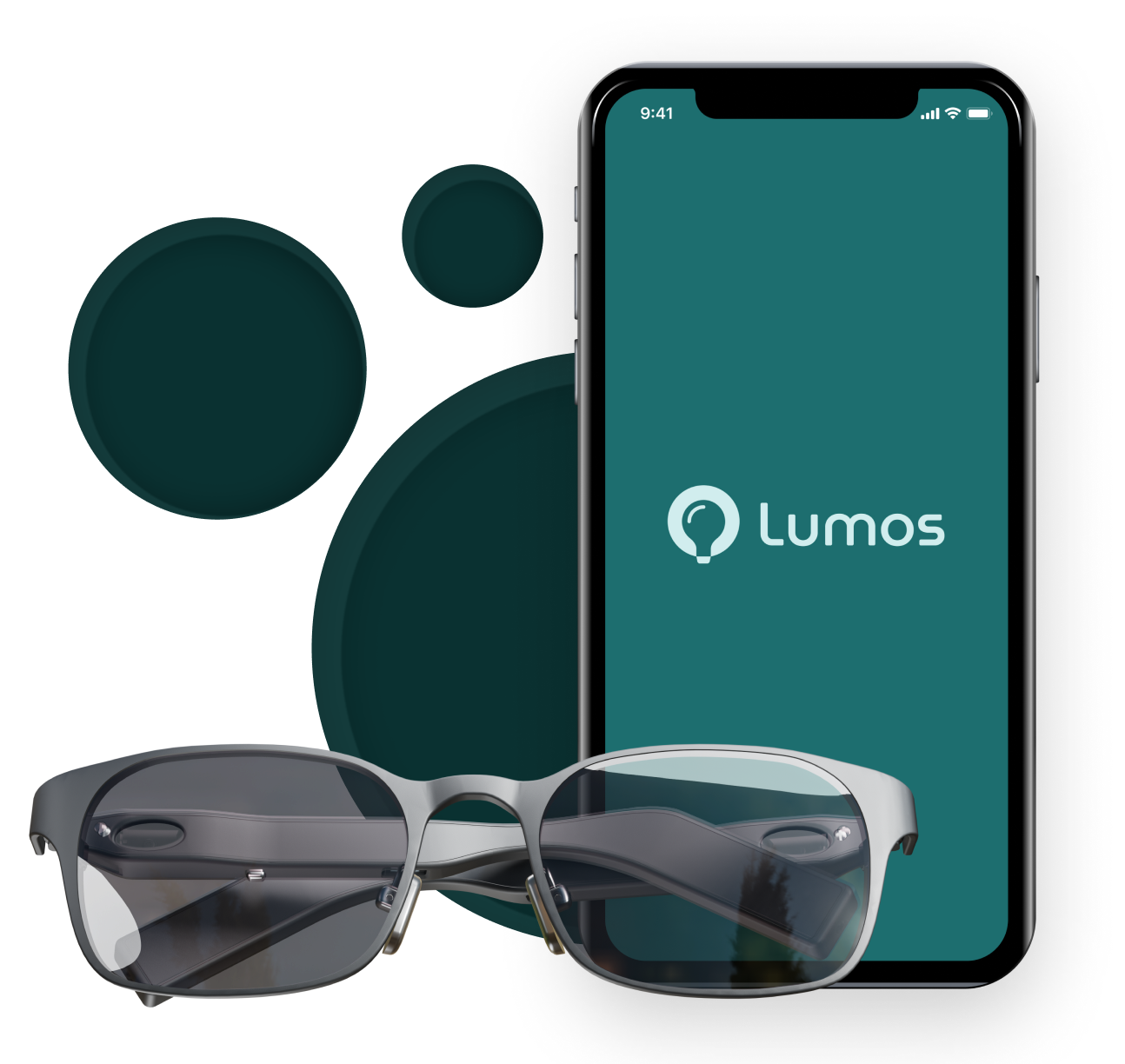 Hero image with glasses and mobile app