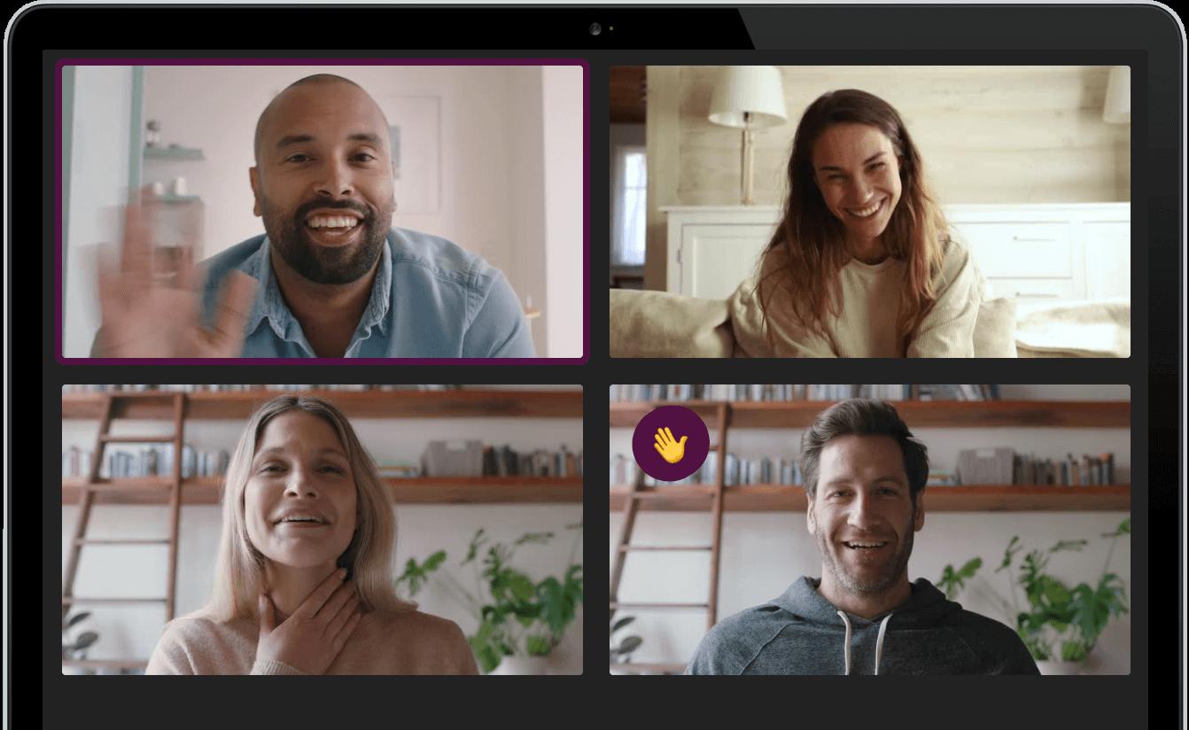 Remote werkend team wat met elkaar in training zit door middel van videobellen met ActTogether
