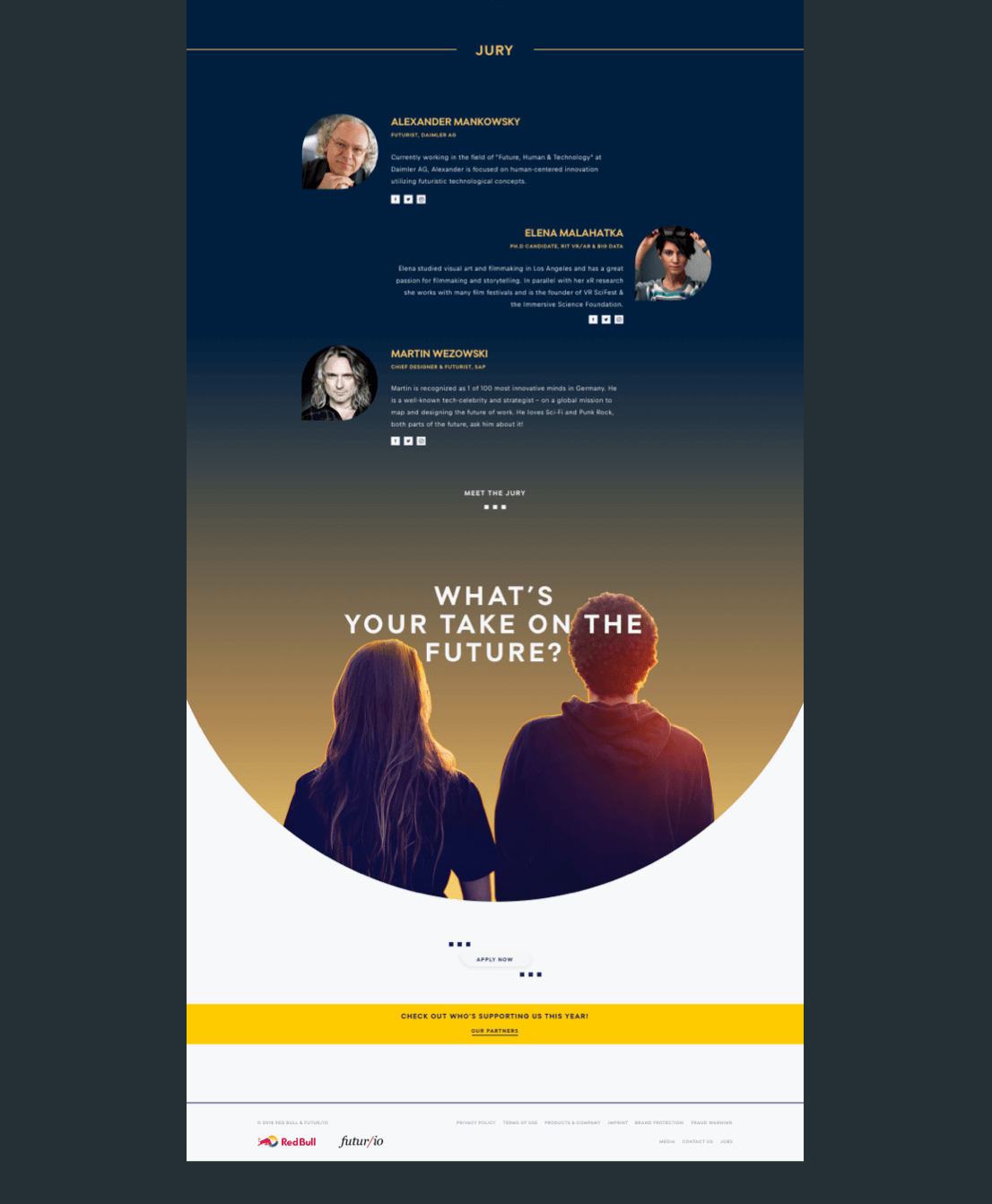 The bottom part of the home page showing a sunset gradient