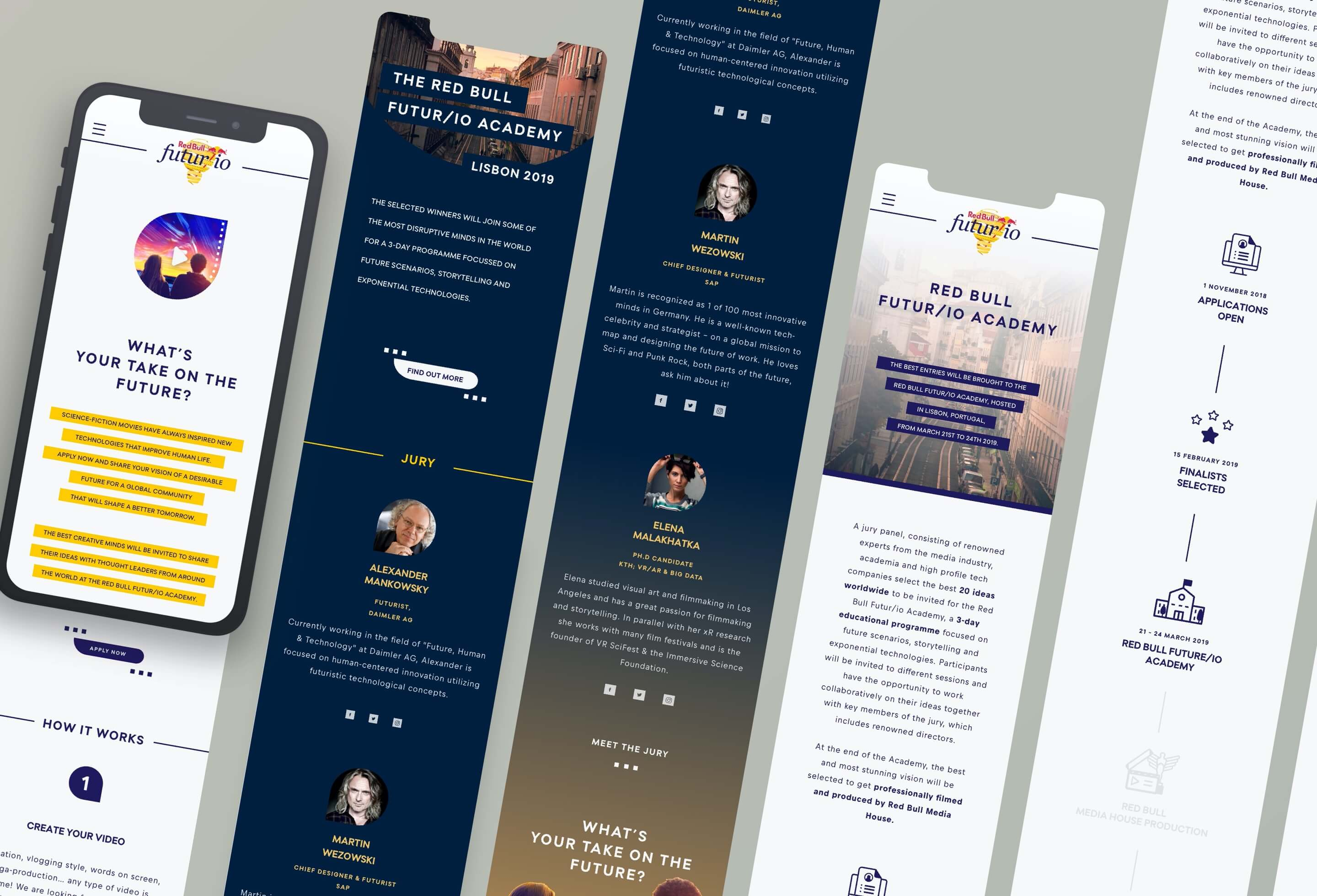 An overview of the website designs on mobile devices