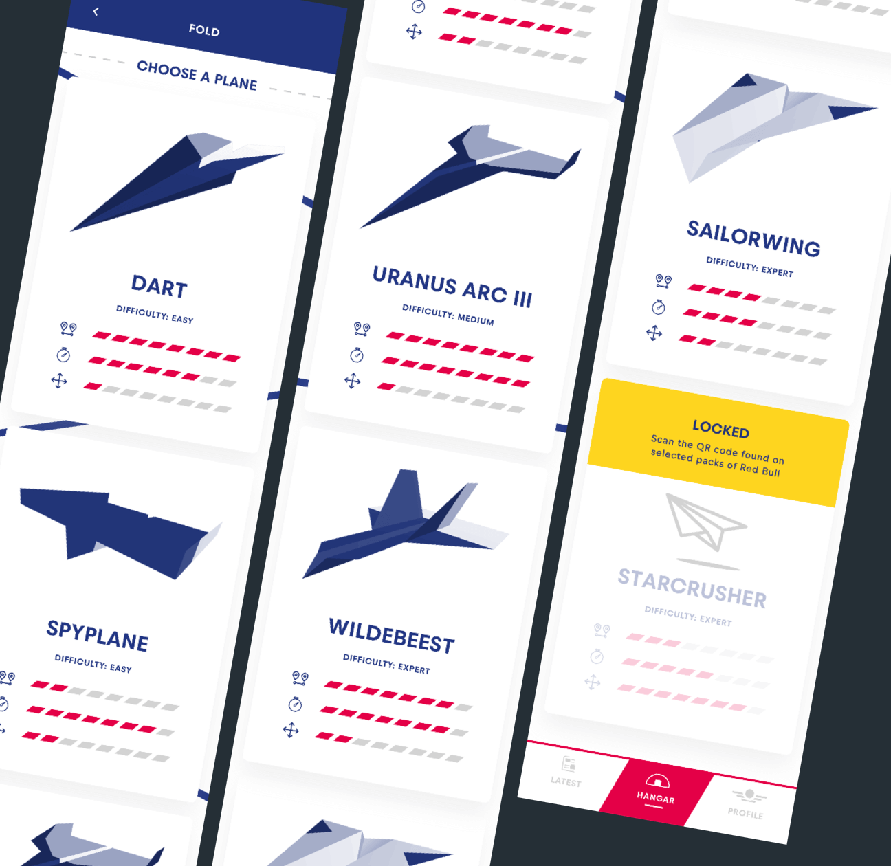 A collection of the planes you can make in the mobile application