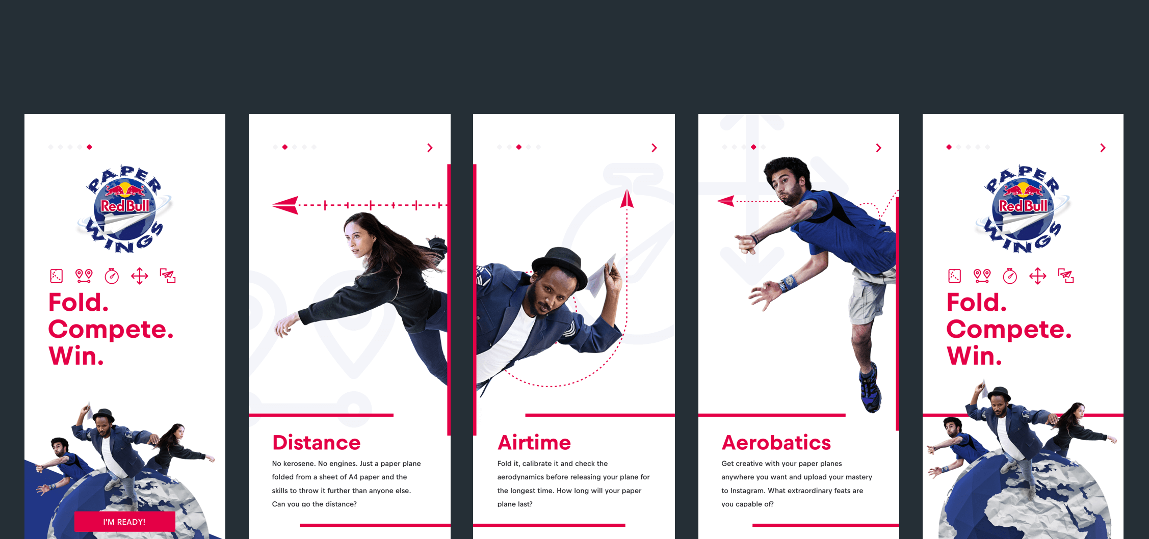 The onboarding screens of the mobile app